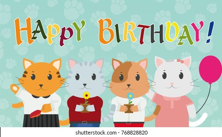 Happy Birthday Greeting Card Cat With Gifts Vector Illustration
