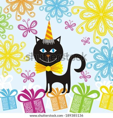 Happy Birthday Greeting Card Cat Vector Illustration