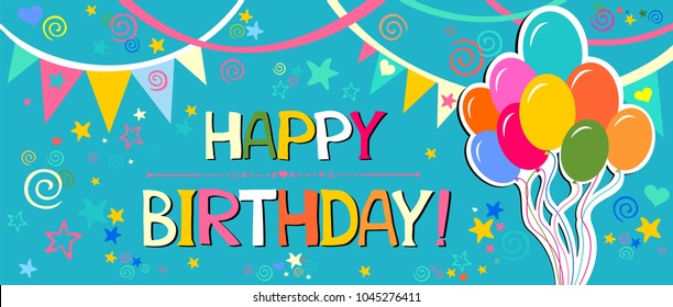 Happy Birthday! Greeting card. Celebration  background with colorful flags, star, balloons and place for your text. Vector Illustration