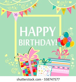 Birthday greetings images stock photos vectors shutterstock happy birthday greeting card celebration green background with gift boxes balloons frame m4hsunfo