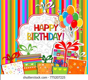 Happy Birthday! Greeting card. Celebration background with gift boxes, Balloons and place for your text. Vector Illustration