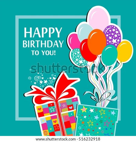 Happy Birthday Greeting Card Celebration Background Vector De Stock