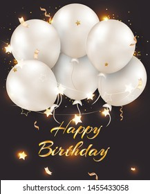 Happy birthday greeting card. Celebrations background with  pearl white balloons, confetti, sparkles. Template for banner, sales, promotions. Vector illustrations.