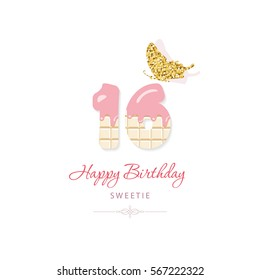 Happy birthday greeting card with chocolate numbers 16 and glitter butterfly. Sweet sixteen. Trendy minimalistic design.