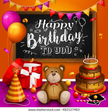 Happy Birthday Greeting Card Colorful Gift Stock Vector Royalty