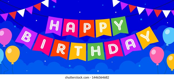 Happy Birthday Greeting Card Concept, Template, Banner, Logo Design, Icon, Poster, Offer, Unit, Label, Web Header, Background, Mnemonic with Balloon Party Invitation - Vector, Illustration