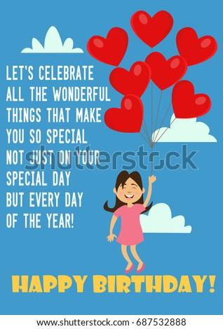 Happy Birthday Greeting Card Congratulation Quote Stock Vector