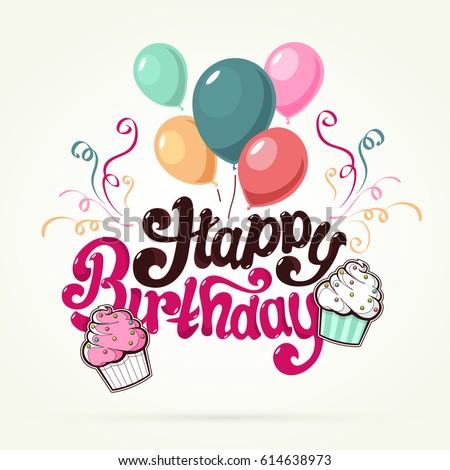 Happy Birthday Greeting Card Cupcake Unique Stock Vector Royalty
