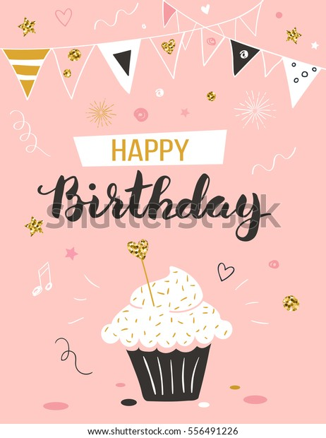 Happy Birthday Greeting Card With Cupcake And Text