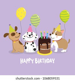 Happy Birthday Greeting Card With Cute Dogs And Balloons