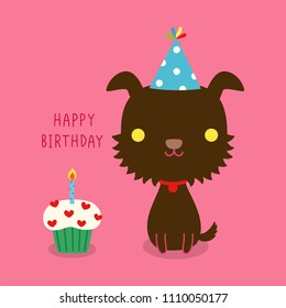 Happy birthday greeting card. Cute cartoon dog cerebrating with text happy birthday and cupcake. Isolated on pink background. Flat design. Colored vector illustration.