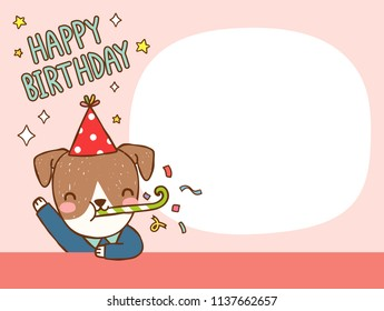 Happy birthday greeting card. Cute cartoon jack russell terrier dog cerebrating and smiling. Invitation card, postcard, poster. Copy space for text. Flat design. Colored vector illustration.
