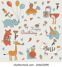 Happy birthday greeting card with cute giraffe, snail, pig, elephant, zebra, ostrich, turtle and hippo with balloons in cartoon style. Birthday party with balloons, cupcakes, gifts and flowers.