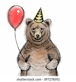 Happy birthday greeting card with cute bear sketch. Bear with balloon and birthday cap.Watercolor vector illustration.