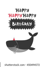 Happy Birthday greeting card with cute whale. Vector illustration.