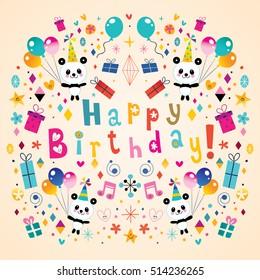 Happy Birthday greeting card with cute panda bears
