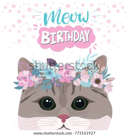 Happy Birthday Greeting Card With Cute Cat In Flower Editable Vector Illustration