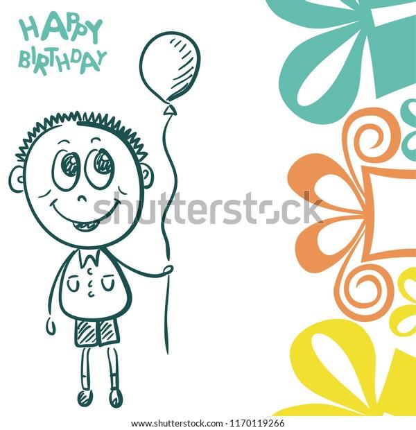 Miraculous Happy Birthday Greeting Card Cute Cartoon Stock Vector Royalty Personalised Birthday Cards Veneteletsinfo