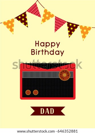 Happy Birthday Greeting Card To Dad With Vintage Radio Graphic