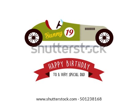 Happy Birthday Greeting Card For Daddy With Vintage Racing Car Vector