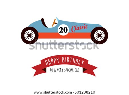 Happy Birthday Greeting Card Daddy Vintage Stock Vector Royalty