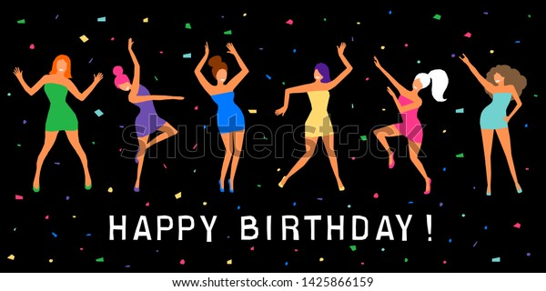 Fantastic Happy Birthday Greeting Card Happy Dansing Stock Vector Royalty Personalised Birthday Cards Veneteletsinfo