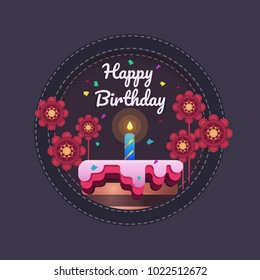 Happy birthday greeting card design template. Cake with candle flowers and confetti
