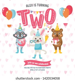 """Happy Birthday greeting card design. Invitation template with cute animals. Letters """"Two"""" and kids illustration. Bear, rabbit and raccon celebrate Birthday. For Baby Shower, party, invitation."""