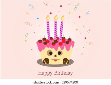 Happy Birthday Greeting Card Design Cake Dog Face On
