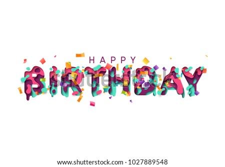Happy Birthday Greeting Card Design Letter Modern Style Papercut Multi Color Layers