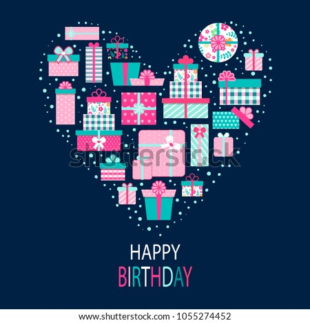 Happy Birthday Greeting Card Design Vector Illustration Of Heart Made From Pink Gift Boxes