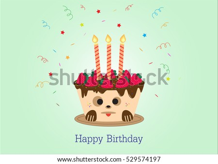Happy Birthday Greeting Card Design Cake Dog Face On