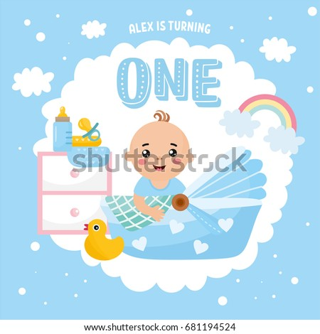 Happy Birthday Greeting Card Design Frame With Cute Baby Boy In A Cradle