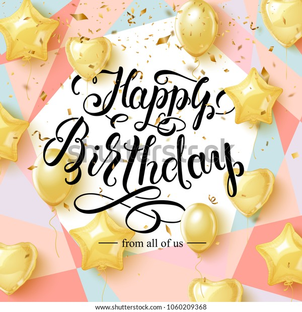 Happy Birthday Greeting Card Design Golden Stock Vector