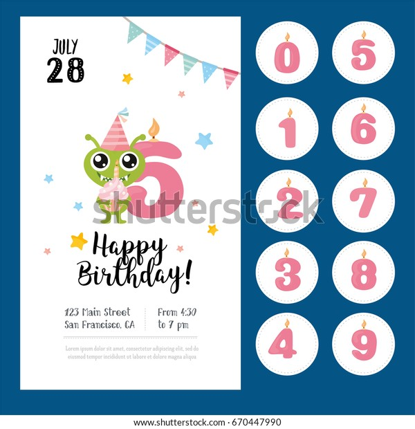 Happy Birthday Greeting Card Design Labels Set With Numbers And Poster For Printing