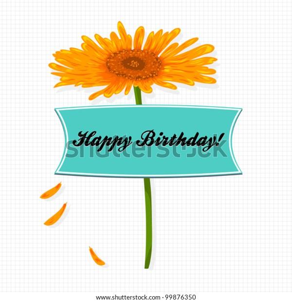 Happy Birthday Greeting Card Design Beautiful Stock Vector