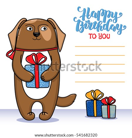 Happy Birthday Greeting Card With Dog Holding A Gift Lettering And Lines For Congratulations