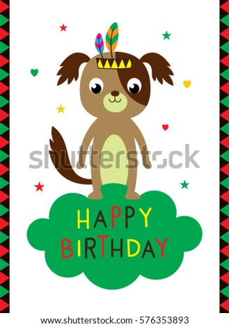 Happy Birthday Greeting Card With Dog Graphic Vector