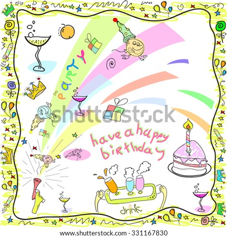 Happy Birthday Greeting Card Drawing In Doodles