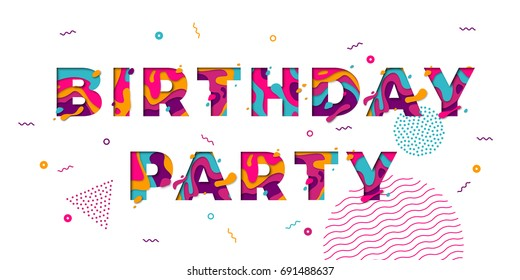 Happy Birthday greeting card of festive color confetti stars and balloons pattern background. Vector congratulation text of modern papercut multi color layers letters