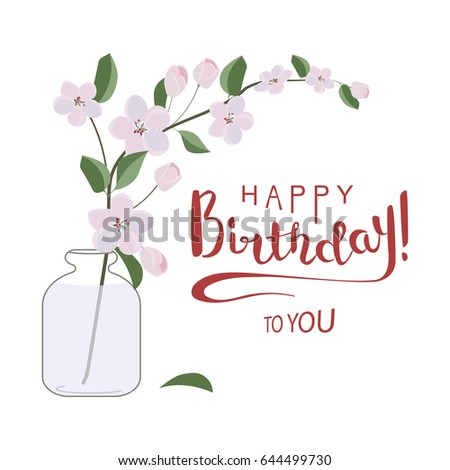 Happy Birthday Greeting Card Flowers Pastel Stock Vector Royalty