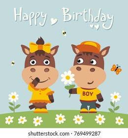 Happy birthday greeting card funny bear stock vector 2018 greeting card funny horse boy gives flower to girl m4hsunfo