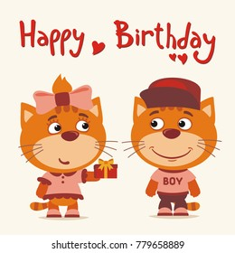 Happy birthday greeting card funny monkey stock vector royalty free happy birthday greeting card funny kitten cat girl gives gift to boy m4hsunfo