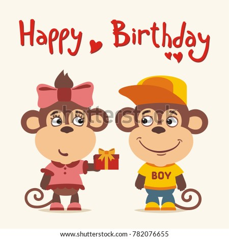 Happy Birthday Greeting Card Funny Monkey Girl Gives Gift To Boy