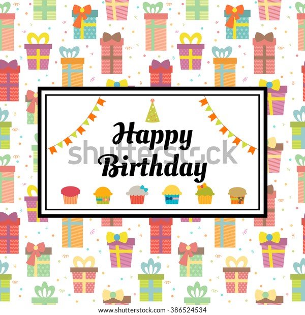 Happy Birthday Greeting Card Gift Boxes Stock Vector Royalty Free