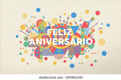 Happy Birthday Greeting Card Illustration In Portuguese Language Special Event Typography Art Ideal For Invitation