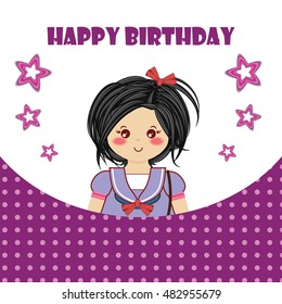 Happy Birthday Greeting Card Kawaii Little Smiling Girl Tender Childish Design Cute Background