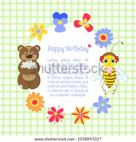 Happy Birthday Greeting Card For Kids And Parents With Hand Drawn Bear Bee Flowers