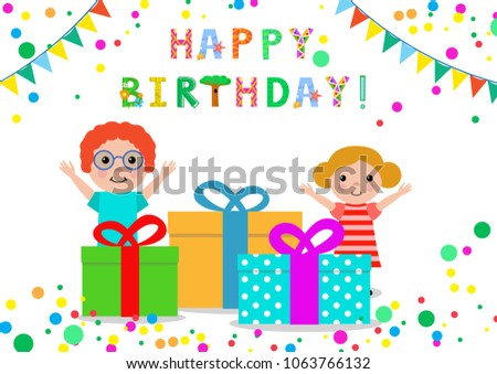 Happy Birthday Greeting Card With Kids Balloons And Gifts Colorful Isolated Vector