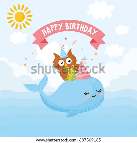 Happy Birthday Greeting Card Kids Illustration Whale With An Owl And Gifts Float In
